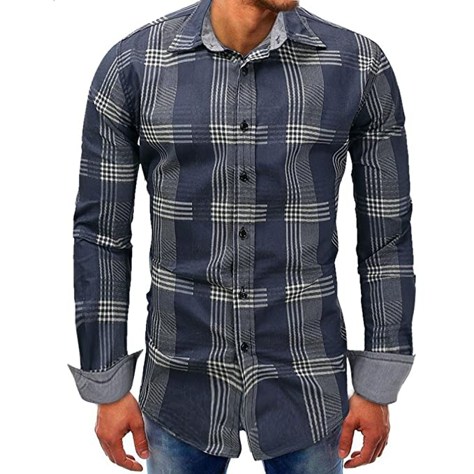 Resplend Hombres Lattice Denim Botón de Manga Larga Beefy Basic Blusa sólida Camiseta Top