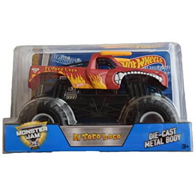 Hot Wheels Monster Jam 1:24 Scale red El Toro Loco 25th Anniversary Edition: Toys & Games