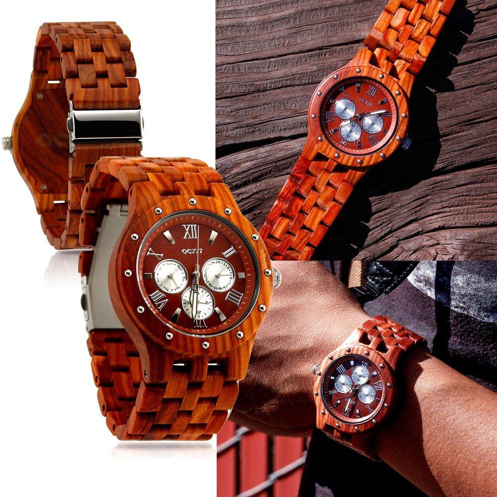 Luxury Wood Watch Wooden Wristwatch Quartz Men's Wrist watch Gift Watches w/Box