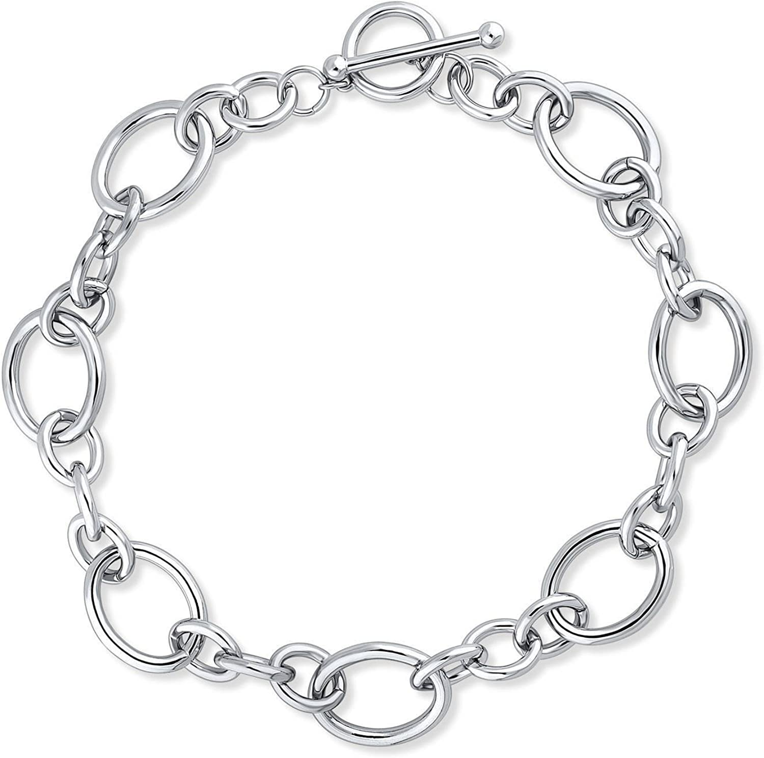 BERRICLE Rhodium Flashed Base Metal Statement Open Oval Toggle Wedding Chain Necklace