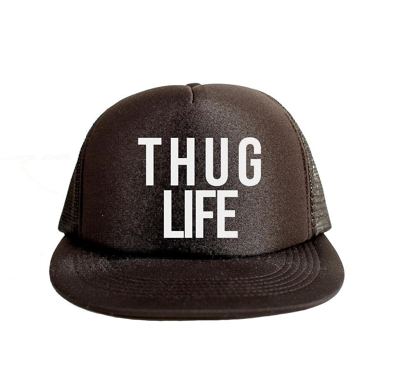 167a0fb9042 Amazon.com  Thug Life Cool Swag Hip Hop Print 80s Style Snapback Hat Cap  Black  Clothing