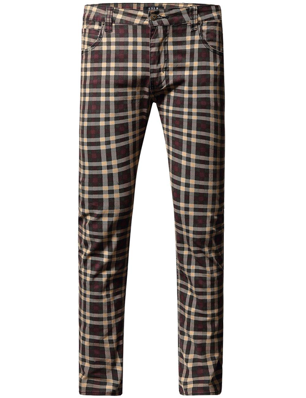 SSLR Men's Checkered Straight Fit Denim Jeans (W36 x L32, Light Khaki(Update))