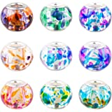 Pandahall 100PCS 15x12mm Spray Painted Glass European Beads with Silver Brass Cores Large Hole Beads, Mixed Color, Hole: 5mm