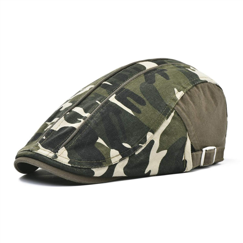 eud-UW Beret Men Cotton Camouflage Flat Cap Women Hat Spring Summer Male Newsboy Boina