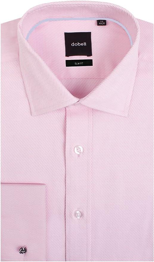 Camisa Rosa Claro de Sarga Entallada con puño Doble 100 ...
