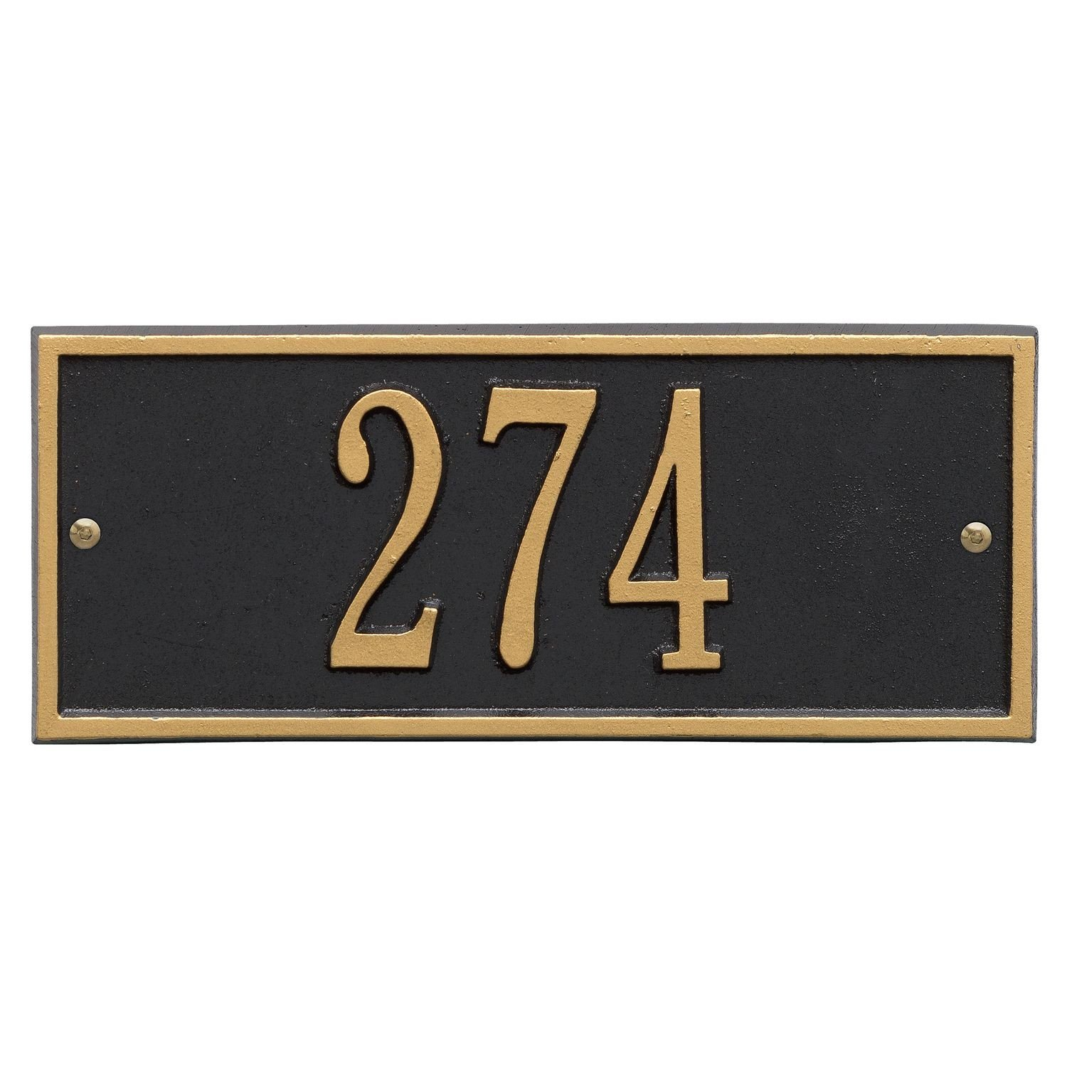 Whitehall Personalized Cast Metal Address Plaque - Small Hartford Custom House Number Sign - 10.5'' x 4.25'' - Allows Special Characters - Black/Gold