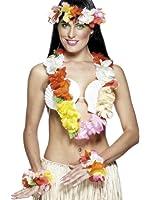 Smiffy's Women's Hawaiian Set with Garland Headband and Wristband