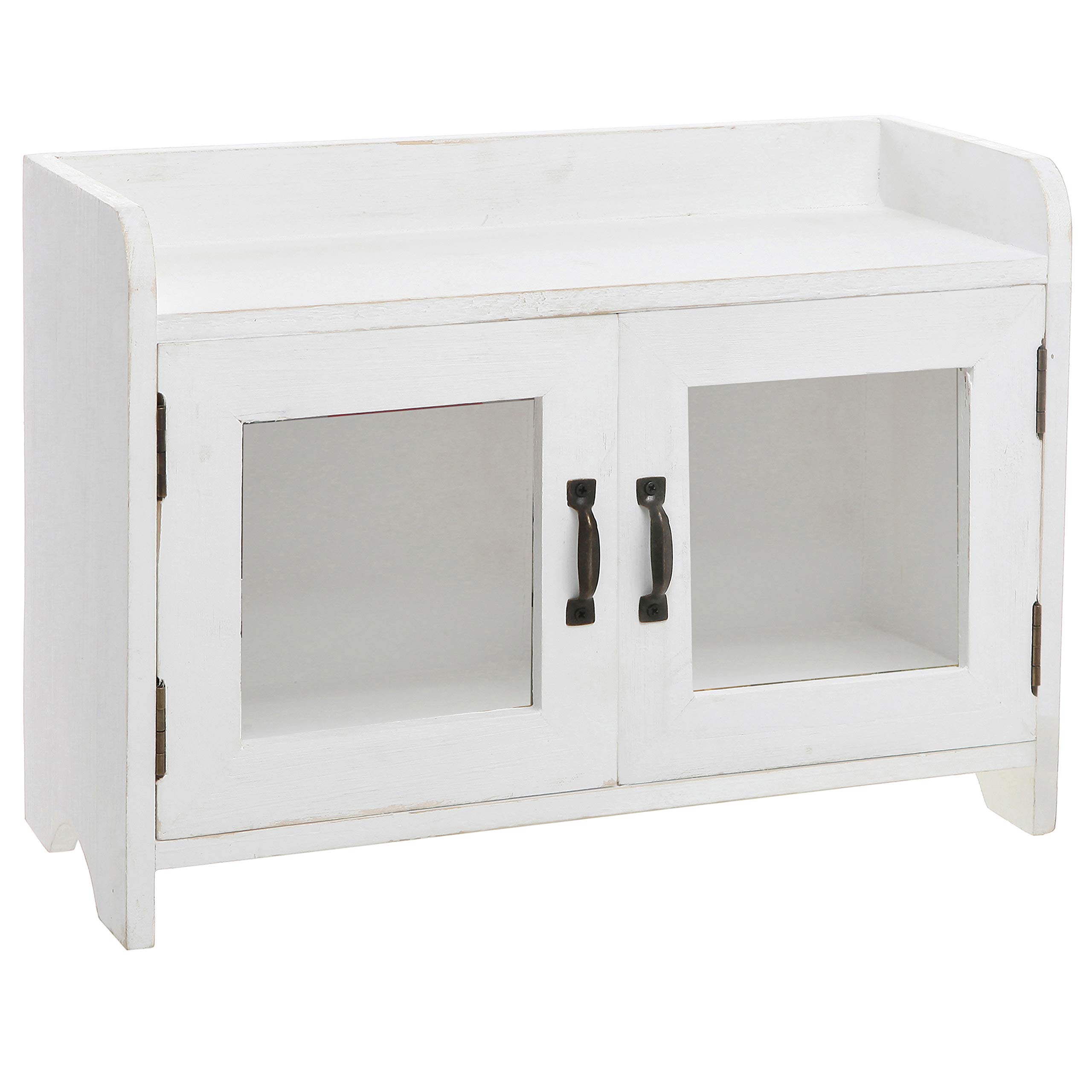 MyGift Antique White Wood Kitchen & Bathroom Countertop Mini Cabinet Organizer by MyGift