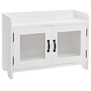 MyGift Antique White Wood Kitchen & Bathroom Countertop Mini Cabinet Organizer