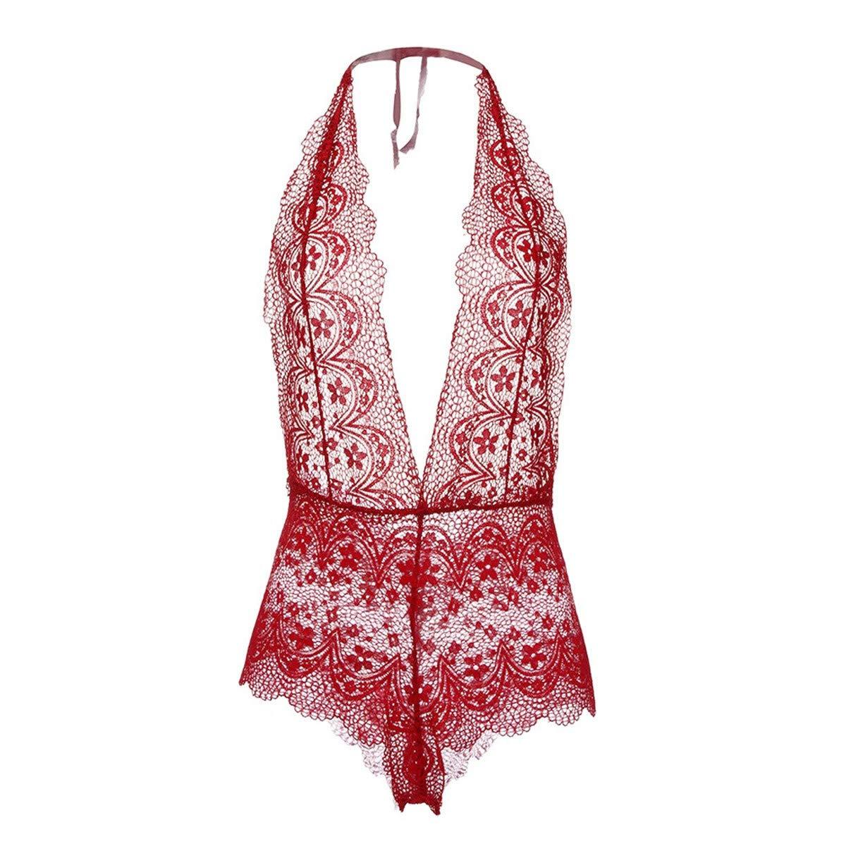 Wesracia Womens Halter Sheer Lace Teddy Babydoll for Dominatrix Lingerie Lingerie Bodysuit For Women for Sex