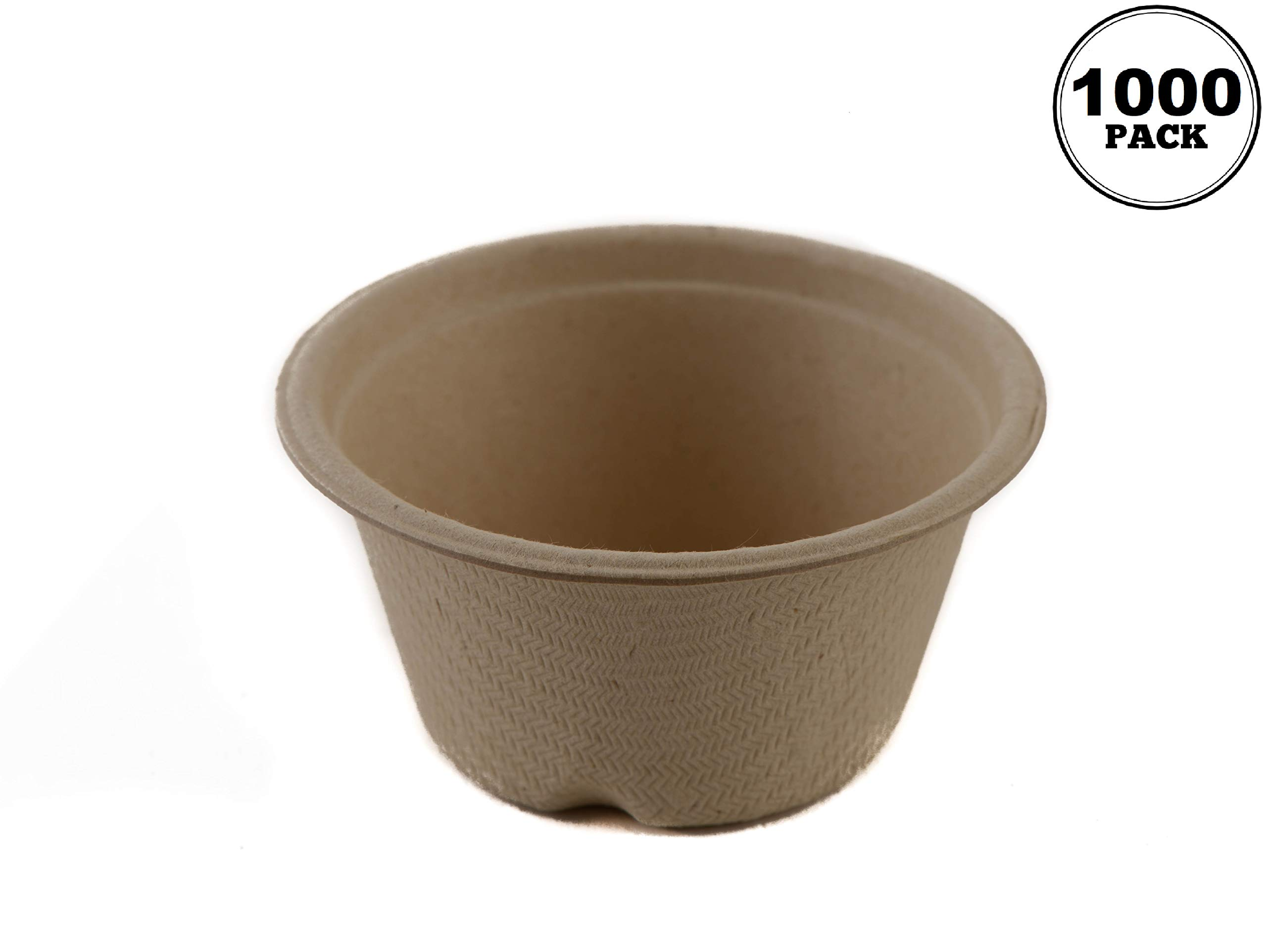 2 Oz Compostable Condiment Souffle Bagasse Cups [1000 Pack] - Portion Cup - Sugarcane, Biodegradable Perfect for Sauces, Samples, Condiments, Slime, Jello Shot, Food Storage, Small Cups by EcoQuality