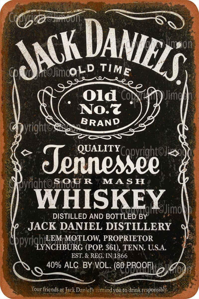 Jimoon Jack Daniels Jennessee Whiskey R/étro Plaque en /étain Vintage M/étallique Panneau M/étal Mur Affiche Mural Signe D/écoration Bar Pub Restaurant Caf/é Garrage