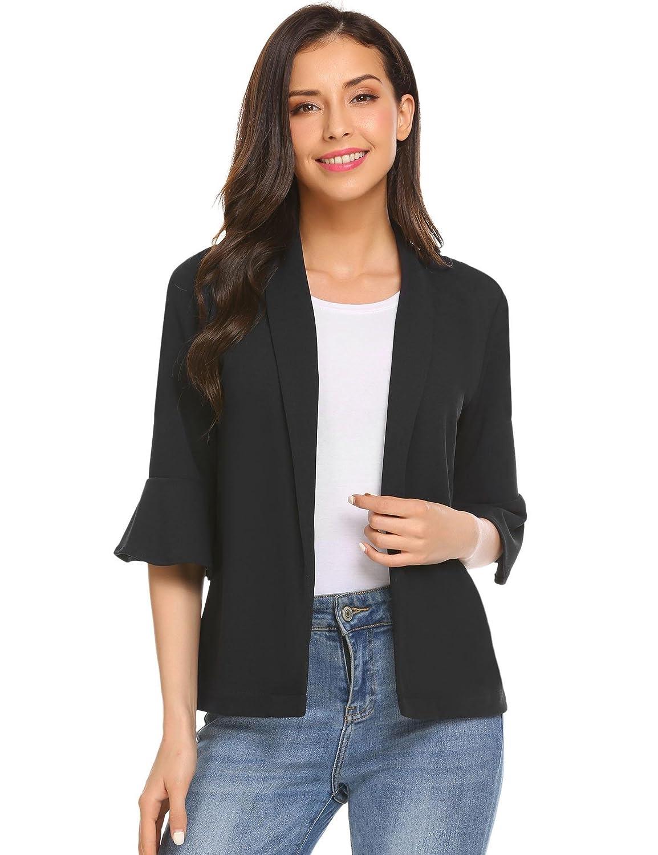 Meaneor Women's 3/4 Flare Ruffle Sleeve Cardigan Jacket Open Front Work Office Lapel Blazer