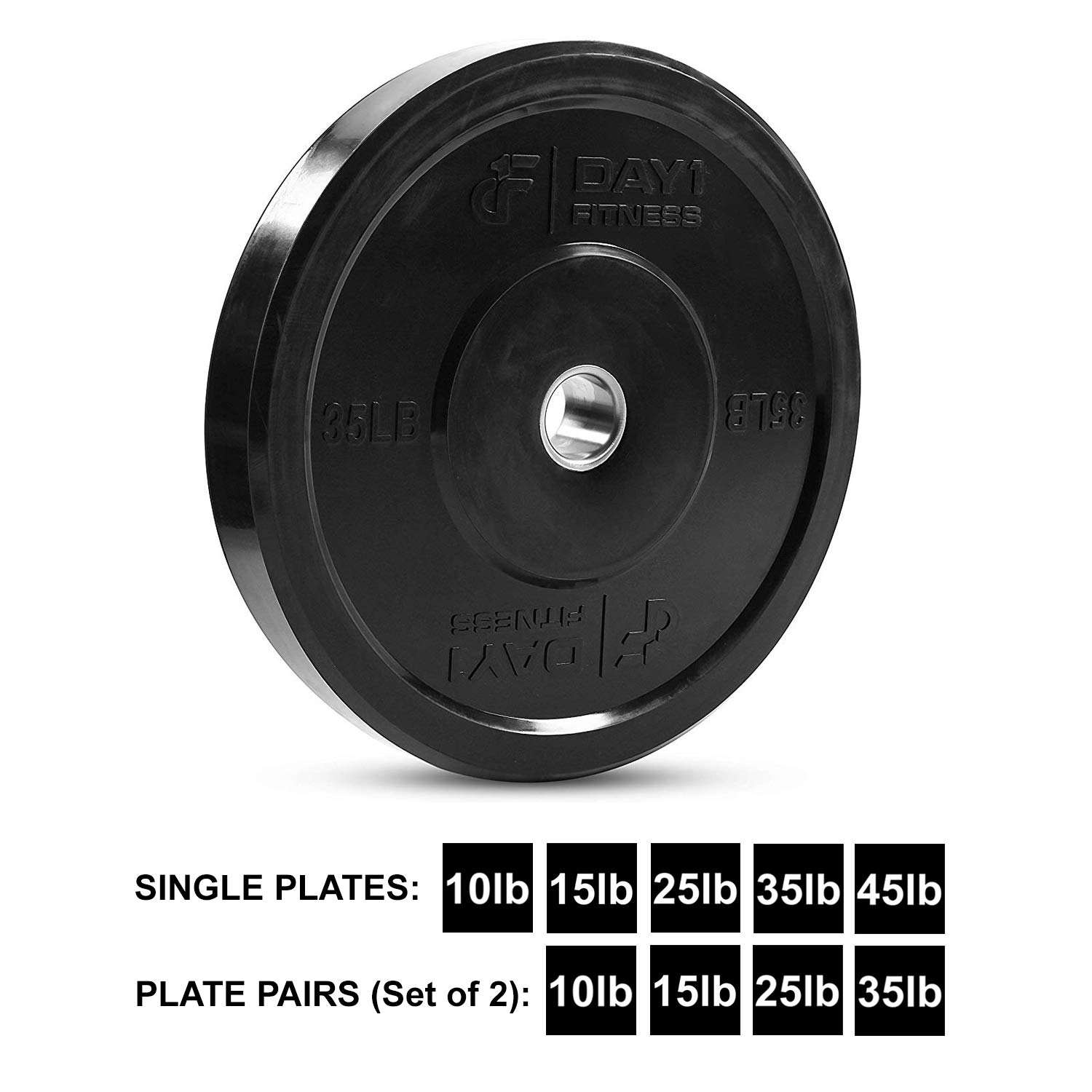 """Day 1 Fitness Olympic Bumper Weighted Plate 2"""" for Barbells, Bars – 35 lb Single Plate - Shock-Absorbing, Minimal Bounce Steel Weights with Bumpers for Lifting, Strength Training, and Working Out by Day 1 Fitness (Image #1)"""