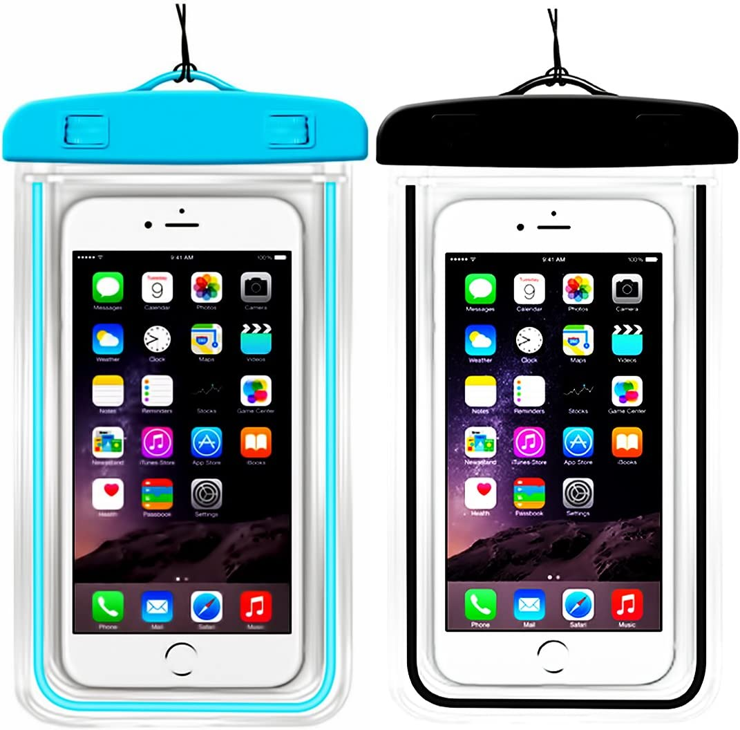 "(2Pack) Universal Waterproof Case, IPX8 Phone Pouch Dry Bag Compatible with iPhone XR X XS MAX/8/8plus/7/7plus/6s/6/6s Plus Samsung Galaxy s8/s7 Google Pixel HTC10 up to 6.5"" Diagonal (Blue+Black)"