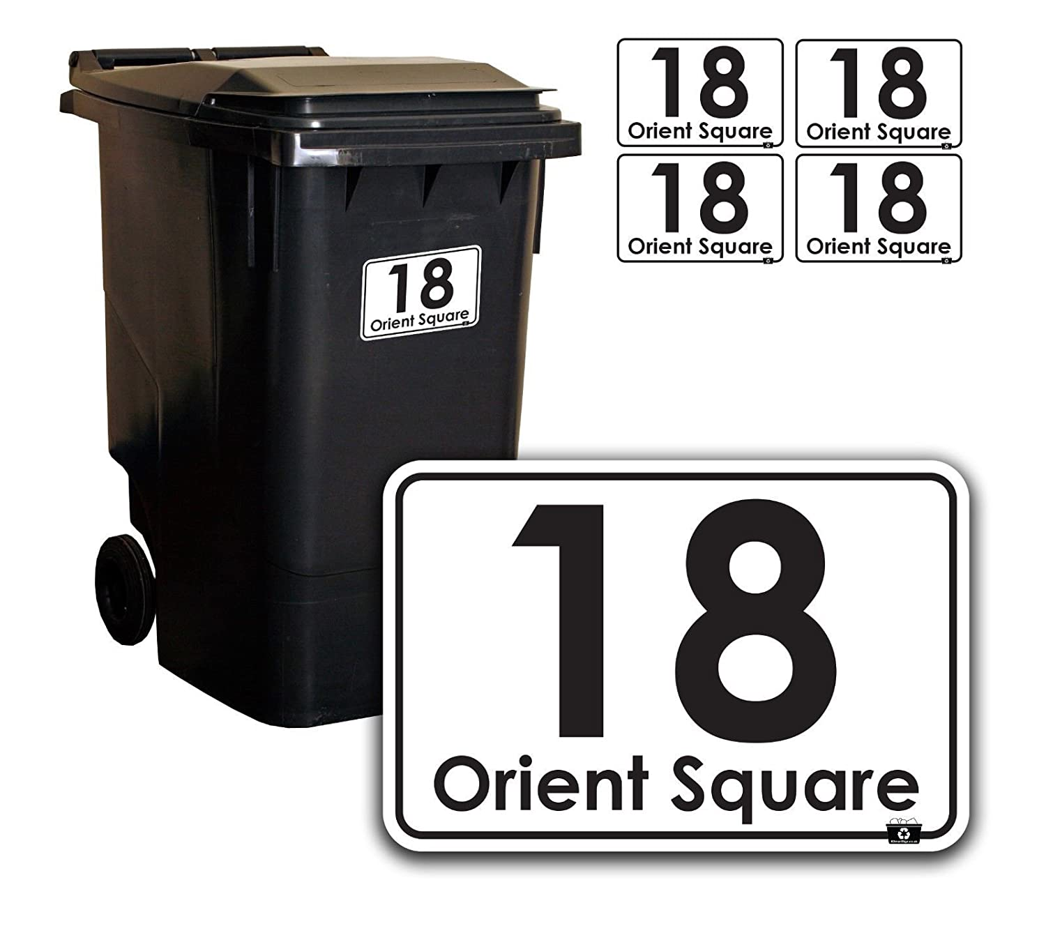 b23b632e753a Personalised Printed Wheelie Bin Number Stickers with number and road Name  - A6 Vinyl Waste Container