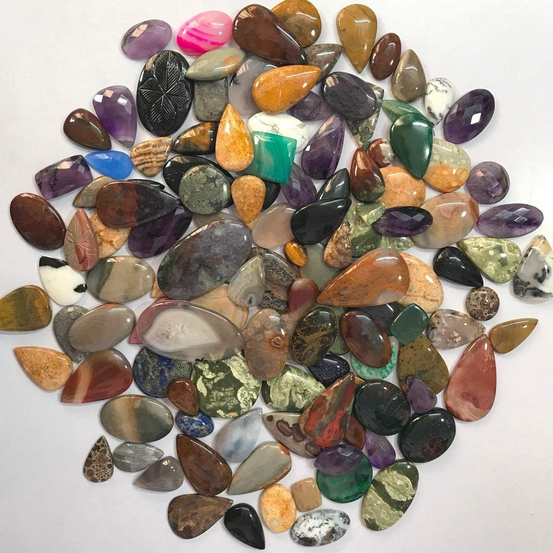 Gemkora 4 to 6pcs Natural Mix Gemstones Wholesale Cabochons Lot, Jewelry Making Loose Gemstone, Polished Decor Specimen, DIY, Wire Wrapping, Healing Crystals, Bulk Gemstone Deal (100 carats)
