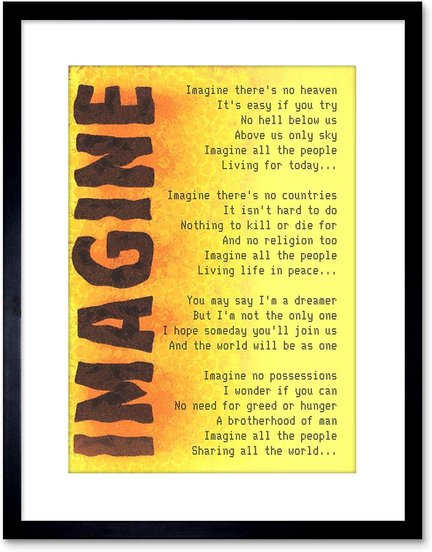 9x7 '' Imagine Music John Lennon Lyrics Quote Framed Art Print F97X441