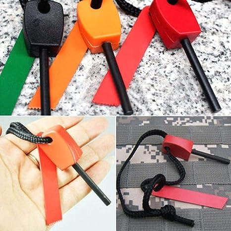 Random Colour NHOUYAO Fire Starter for Outdoor Camping Living Survival Tool Steel Flint Striker Survival Tool Kit 3 pcs