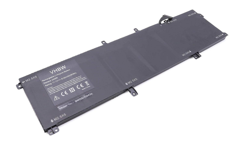 para Notebook Laptop DELL XPS 15 9530 M2.5X5 245RR vhbw Li-Polymer bater/ía 8100mAh T0TRM. 11.1V Precision M2800 7D1WJ M3800 por 0H76MY H76MV