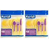 Heavy Duty Plastic Cutlery Set in Yellow - 32 Spoons, 32 Forks, 32 Knives