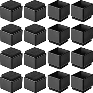"Anwenk 1''x1"" Square Chair Leg Floor Protectors with Felt Pads 1inch 1 in Square Table Leg Protectors Chair Leg Caps Small, 16Pack, Black"