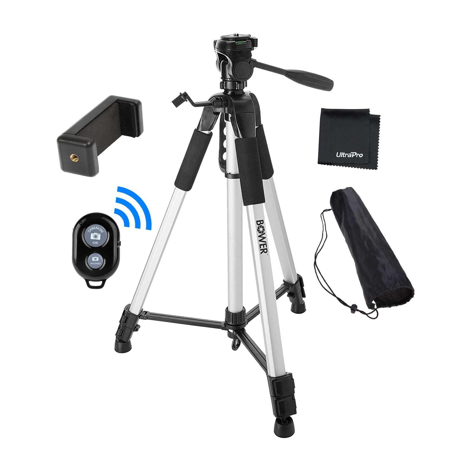 UltraPro 72'' Inch Heavy-Duty Aluminum Camera Tripod with Universal Smartphone Mount + Bluetooth Remote Control Camera Shutter for All Smartphones, Includes UltraPro Bonus Microfiber Cleaning Cloth by UltraPro