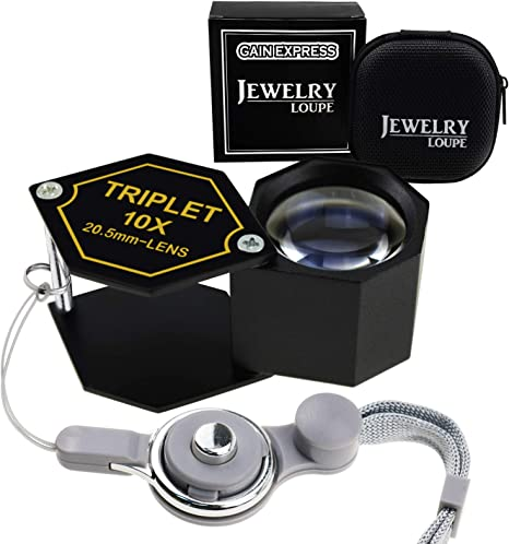 Coin Numismatic Achromatic Black Hexagonal Design Kit Set 15x Magnifier Jewelry Loupe 20.5mm Triplet Lens Optical Glass Pocket Gem Magnifying Tool for Jeweler Stamp Philatelist