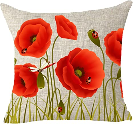 Feleniw Charming Red Poppies Flowers Throw Pillow Cover Cushion Case Cotton Linen Material Decorative 18 X 18 Inches Home Kitchen