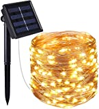 Criacr Solar String Lights, (100 LED 2 Modes) Solar Fairy Lights, 33ft/10m Copper Wire String Lights, Auto on off, Waterproof Portable for Patio, Garden, Home, Wedding, Pathway, Party (Warm White)