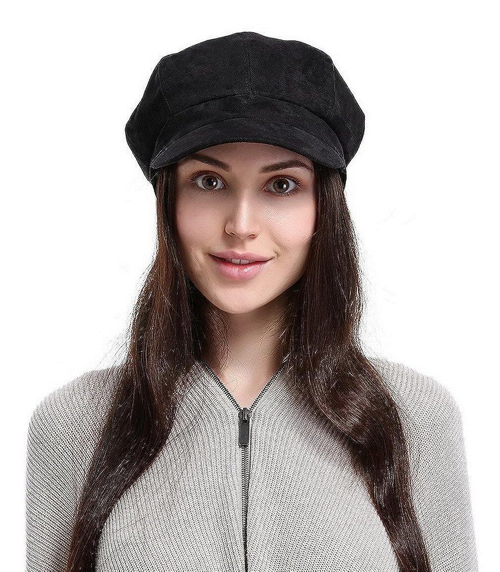 1ba8f7cd394ba Lukis Ladies Winter Warm Faux Suede 8 Panel Baker Boy Cap Peaked Beret Hat  Black: Amazon.co.uk: Clothing
