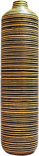 roro Modern Blue Striped, Handcarved Wooden Vase, 16 Inch