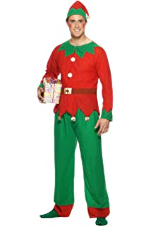 Smiffys Disfraz de elfa con gorro y túnica, Rojo y verde, X-Large ...