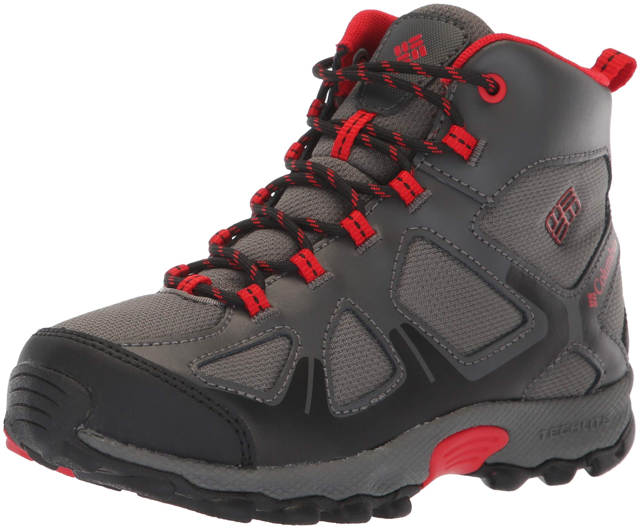 Columbia Boys' Youth Peakfreak XCRSN MID Waterproof Hiking Shoe, City Grey, Bright red, 1 Regular US Little Kid