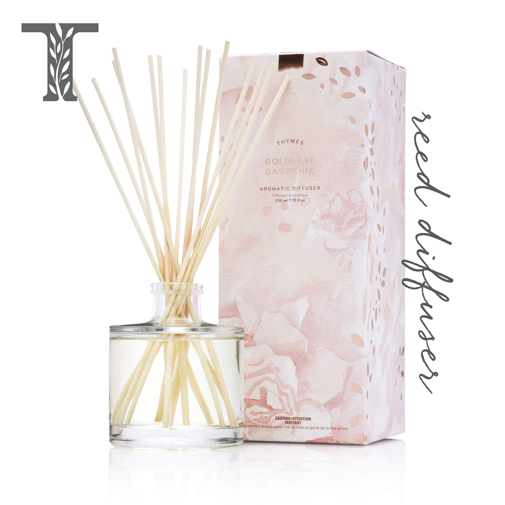 Thymes - Goldleaf Gardenia Aromatic Oil Reed Diffuser - Gift Set with Premium Sticks, Glass Bottle and Scented Oil - 6.5 oz by Thymes