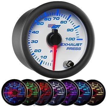 GlowShift blanco 100 PSI manómetro de presión de escape de 7 colores: Amazon.es: Coche y moto