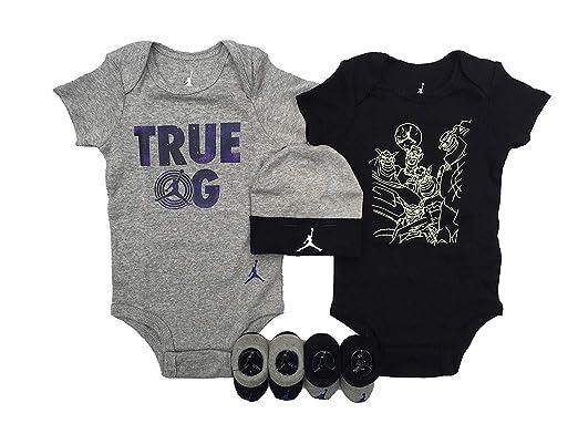 2ff92bc4709 Jordan Double Ensemble bébé Gris Noir 0-6mois  Amazon.fr  Vêtements ...
