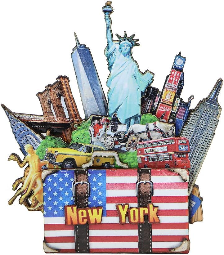 New York City Magnet 3D NYC Landmarks Multi Layered Pressed Wood