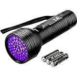 LE 51 LED Linterna ultravioleta Potente Detectar manchas de orina de mascotas, Luz negra 395nm, Linterna UV, Pilas incluidas