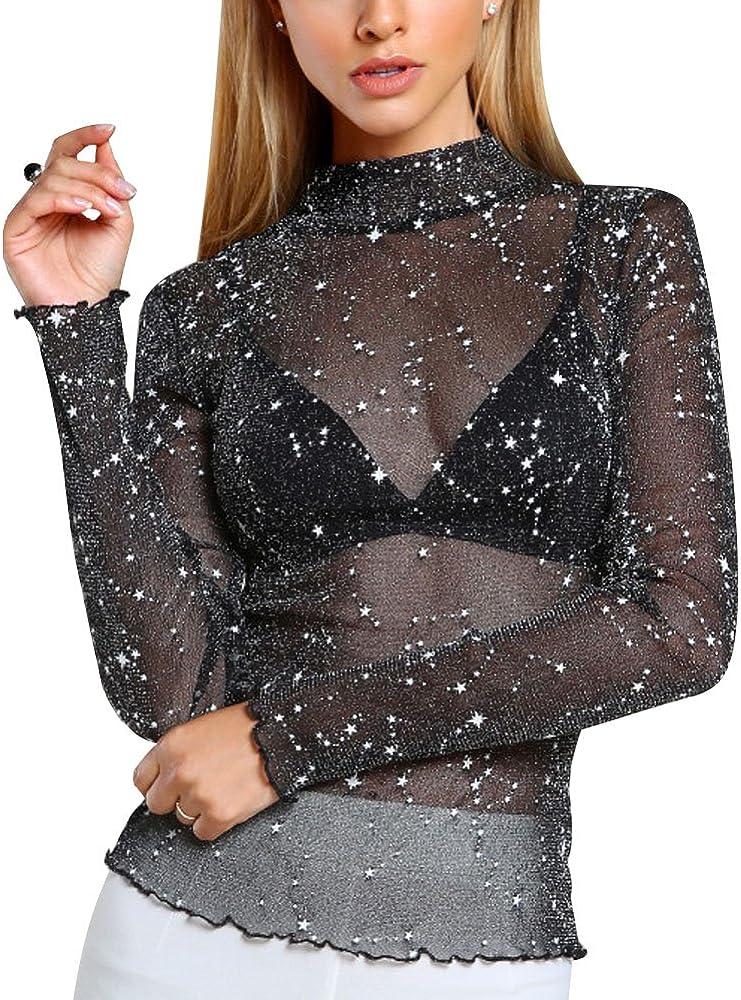 Mujer Camiseta Blusa Transparente Malla Mangas Largas Elegante Oficina Casual Cuello Pico A Negro ES 34: Amazon.es: Ropa y accesorios