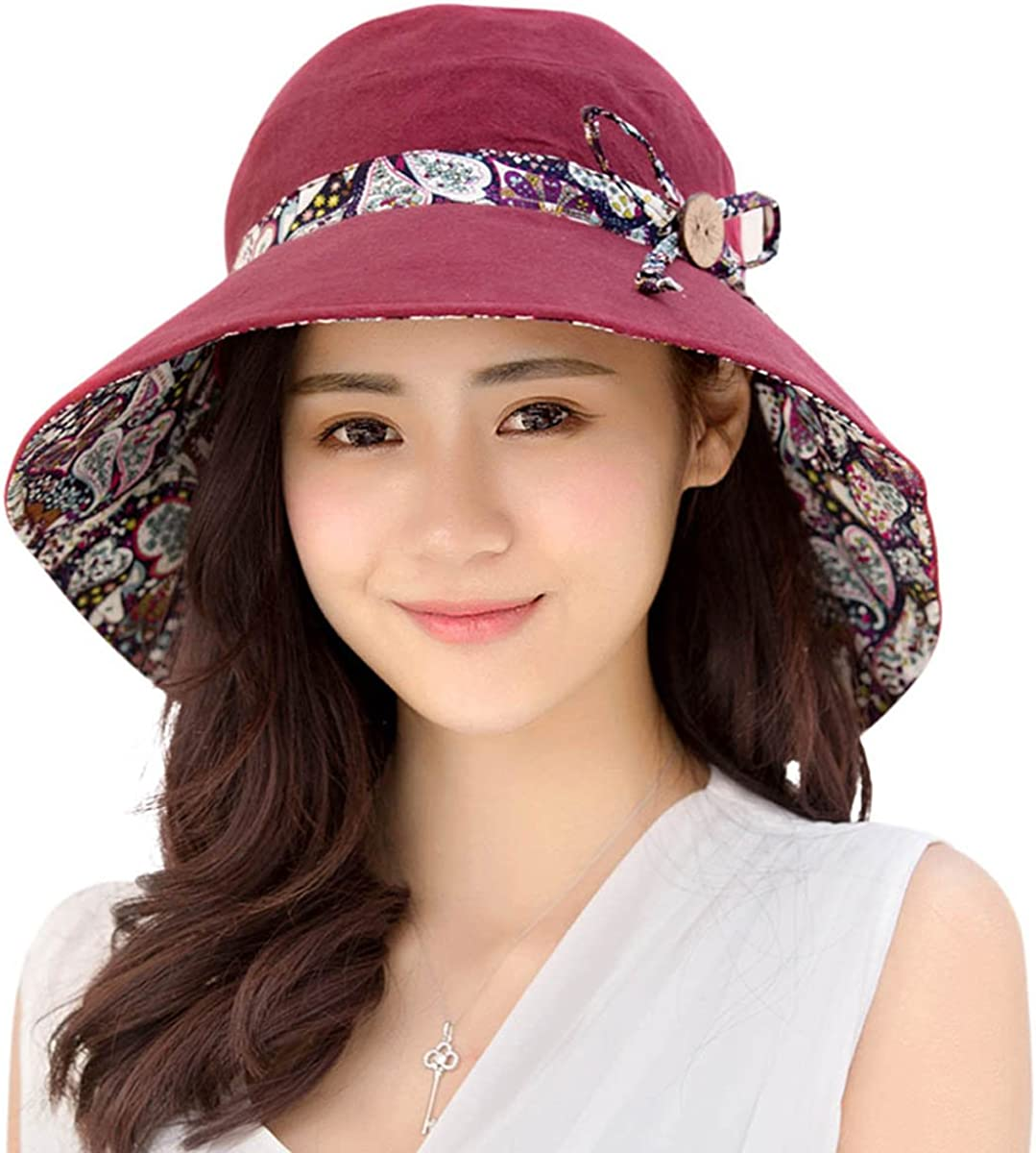 HINDAWI Womens Sun Hat Summer UPF 50+ UV Protection Beach Hat Foldable Wide Brim Cap