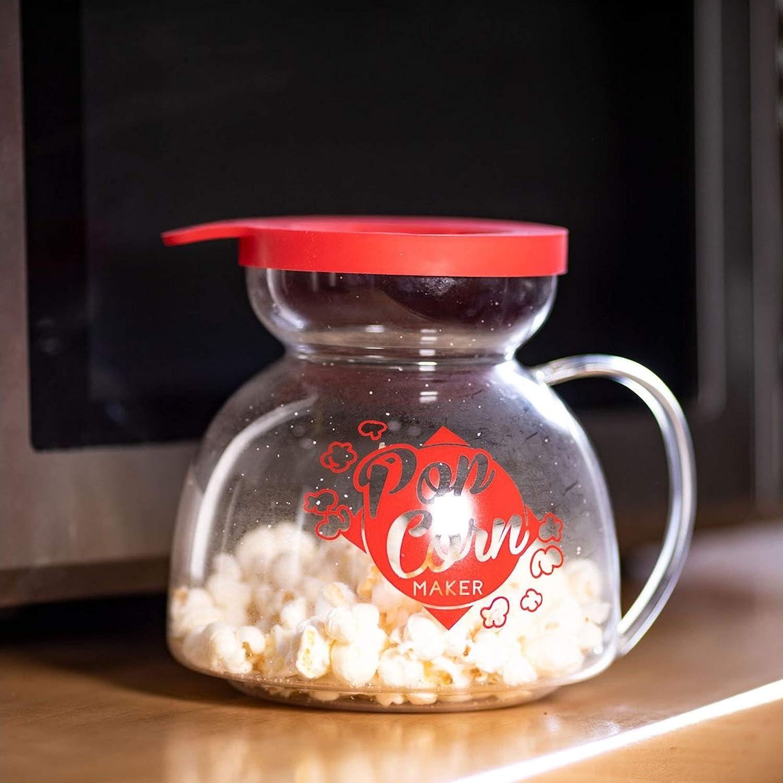 Amatable 39-1K-082 Pot Popcorn Maker Micro-Ondes Transparent et Rouge Verre et Silicone D17,5 x H15 cm