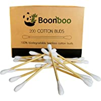 Boonboo Cotton Swabs   200 Bamboo Cotton Buds   Plastic-Free   Sustainable & Biodegradable