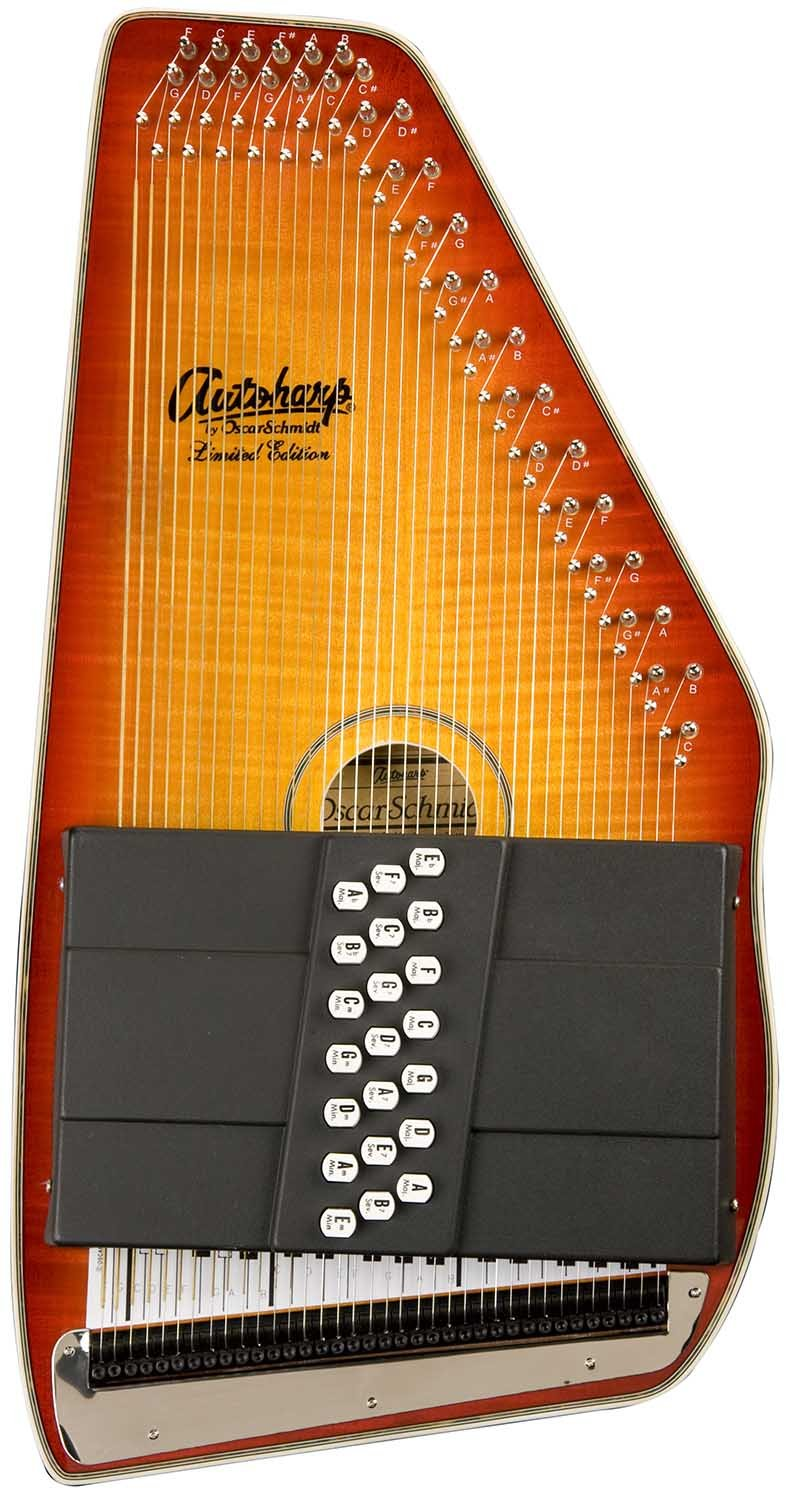 Oscar Schmidt OS110-21FHSE 21 Chord Flame Maple Autoharp with Fine Tuning System and Pickup - Honey Sunburst