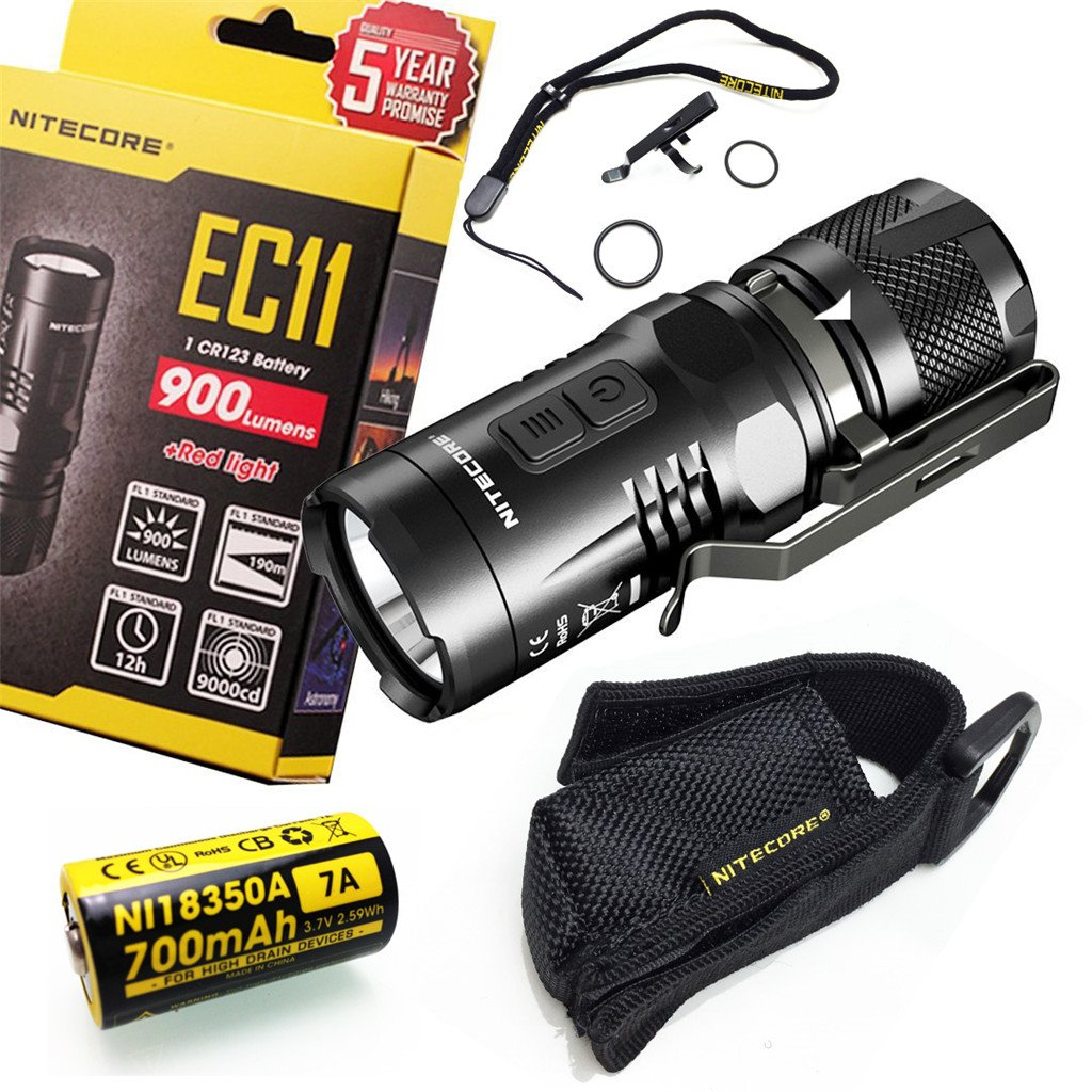 Nitecore EC11 900 Lumens Brightest Mini Cree XM-L2 U2 LED Flashlight With 1 Piece NI18350A 700mAh Battery