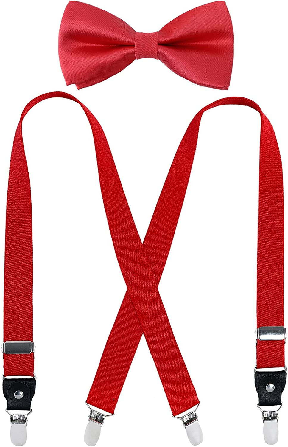 31Inches , Royal blue Kids Boy Suspenders Bowtie Set 9 Years to 5 Feet Tall Adjustable Suspender and Pre tied Bow Tie Set for Men