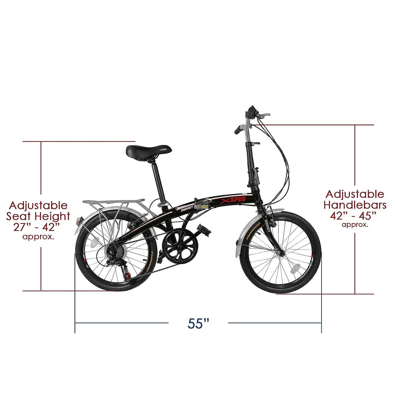 Amazon.com: Xspec - Bicicleta compacta plegable de 7 ...