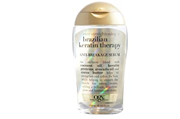 Amazon.com : OGX Ever Straightening Brazilian Keratin Therapy Anti-Breakage Serum 3.30 oz (Pack of 3) : Hair And Scalp Treatments : Beauty
