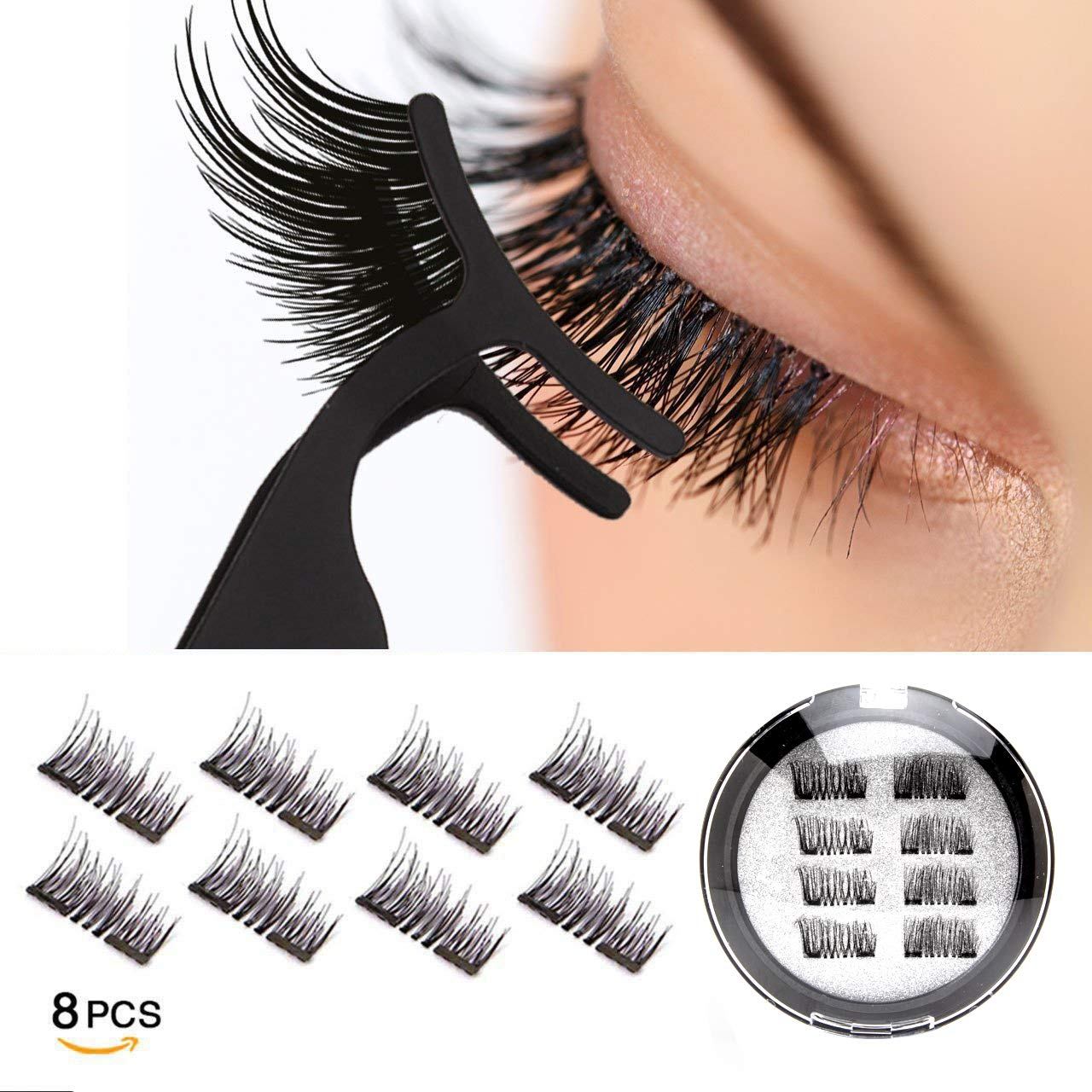 Dual Magnetic Eyelashes 0.2mm Ultra Thin Magnet Lightweight & Easy to Wear Best 3D Reusable Eyelashes Extensions (8 pc with tweezers) VASSOUL