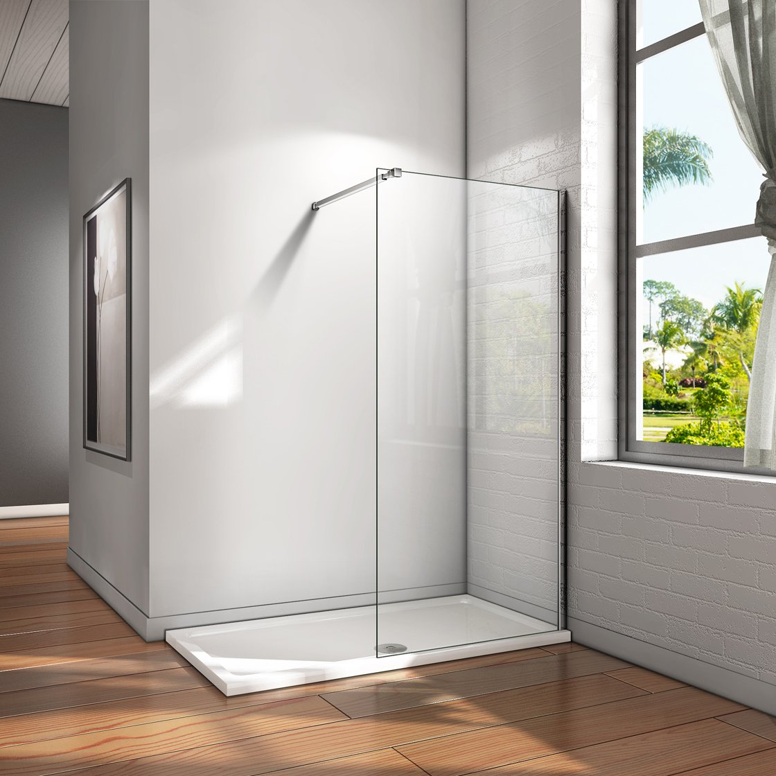 Mampara ducha Panel Pantalla Fija cristal 8mm templado para ba/ño Barra 73-120cm Panel 110x200cm